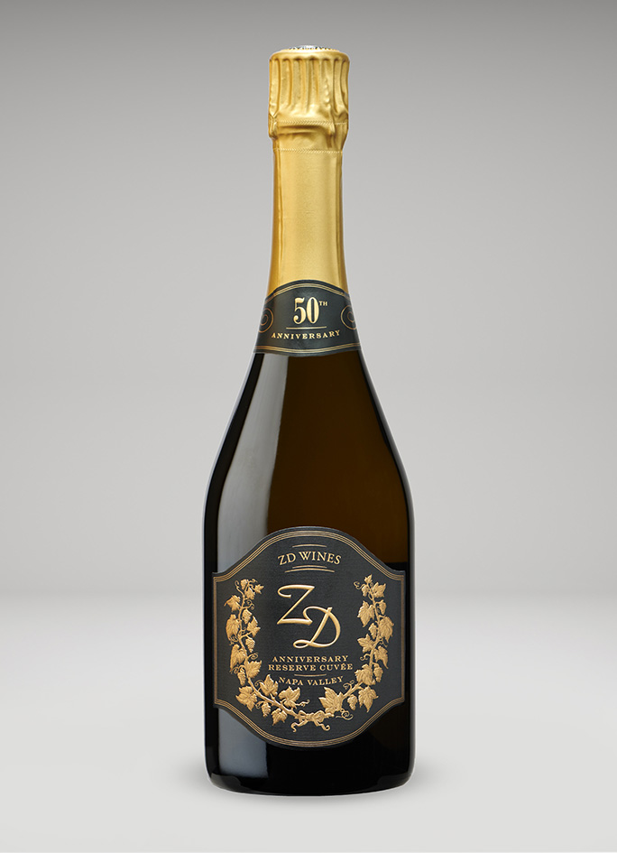 A bottle of ZD Wines 50th Anniversary Sparkling Reserve Cuvée