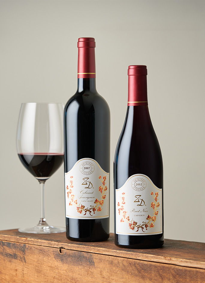 A bottle of 2007 ZD Cabernet Sauvignon and 2012 Pinot Noir